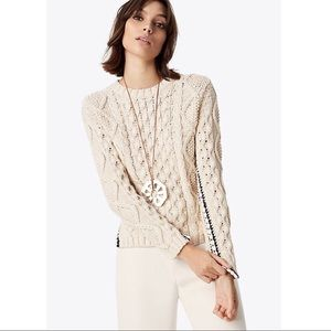 {Tory Burch} Isabel Cable Knit Sweater Size Large